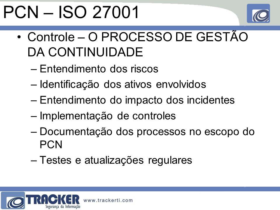 PCN – ISO 27001 Controle – O PROCESSO DE GESTÃO DA CONTINUIDADE –Entendimento dos riscos –Identificação dos ativos envolvidos –Entendimento do impacto dos incidentes –Implementação de controles –Documentação dos processos no escopo do PCN –Testes e atualizações regulares