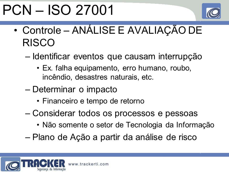 PCN – ISO 27001 Controle – ANÁLISE E AVALIAÇÃO DE RISCO –Identificar eventos que causam interrupção Ex. falha equipamento, erro humano, roubo, incêndi
