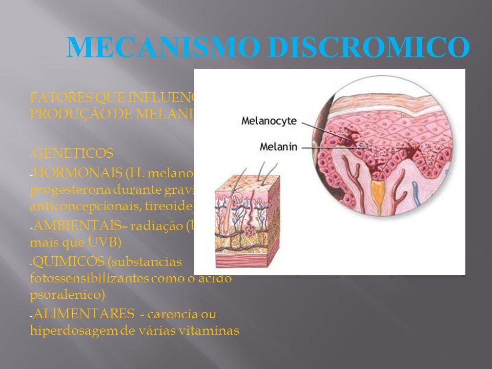 FATORES QUE INFLUENCIAM A PRODUÇÃO DE MELANINA - GENETICOS - HORMONAIS (H. melanotrofico, H progesterona durante gravidez, anticoncepcionais, tireoide
