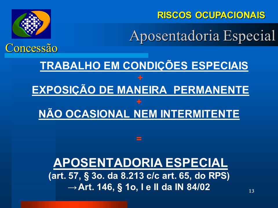 12 APOSENTADORIA ESPECIAL COMBINAÇÃO DE VARIÁVEIS: AGENTE NOCIVO (Anexo IV) + CONCENTRAÇÃO (NR 15) + TEMPO EXPOSIÇÃO (NR 15)