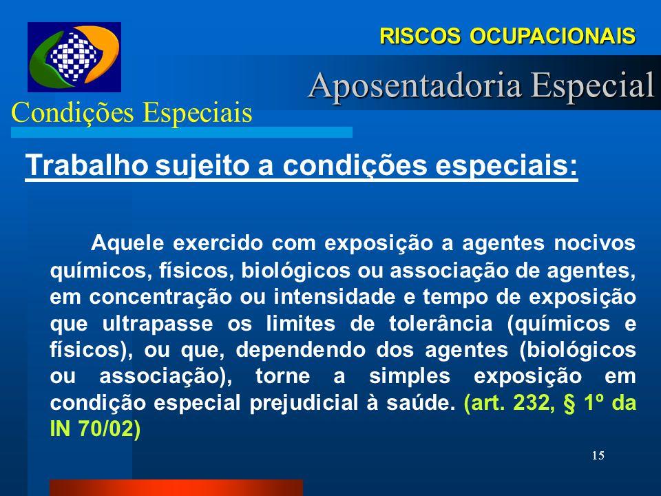 14 RISCOS OCUPACIONAIS Aposentadoria Especial Direito Art. 57. Lei 8.213/91. A aposentadoria especial será devida, uma vez cumprida a carência exigida