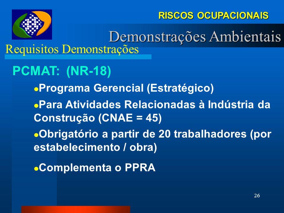 25 PPRA - Reconhecimento A identificação dos riscos; A identificação das funções e determinação do número de trabalhadores expostos; A caracterização