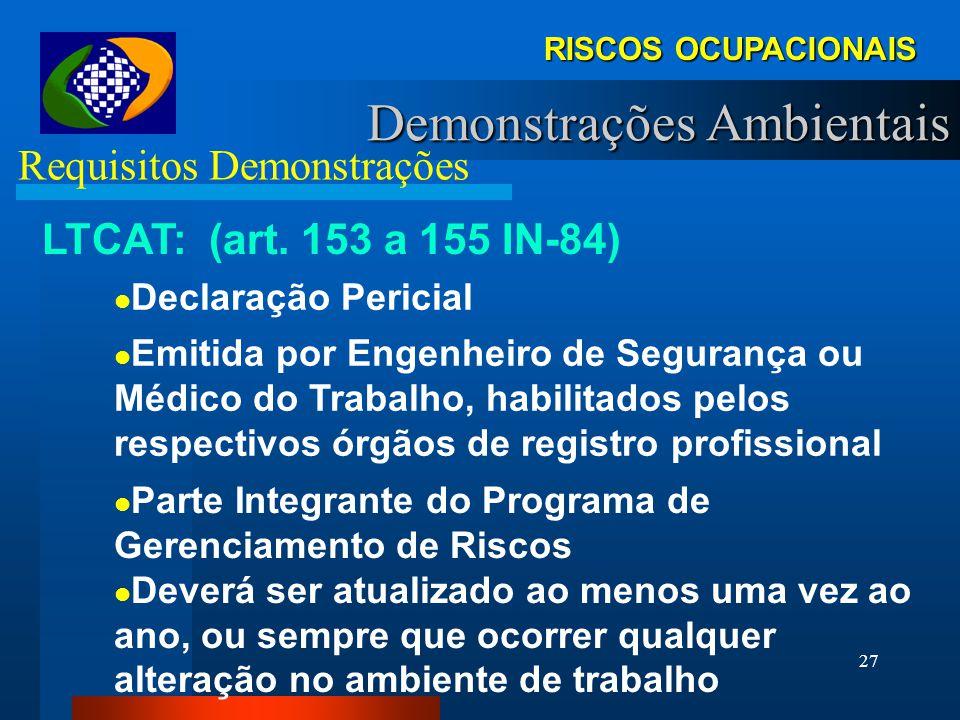 26 RISCOS OCUPACIONAIS Demonstrações Ambientais Requisitos Demonstrações PCMAT: (NR-18) Programa Gerencial (Estratégico) Para Atividades Relacionadas