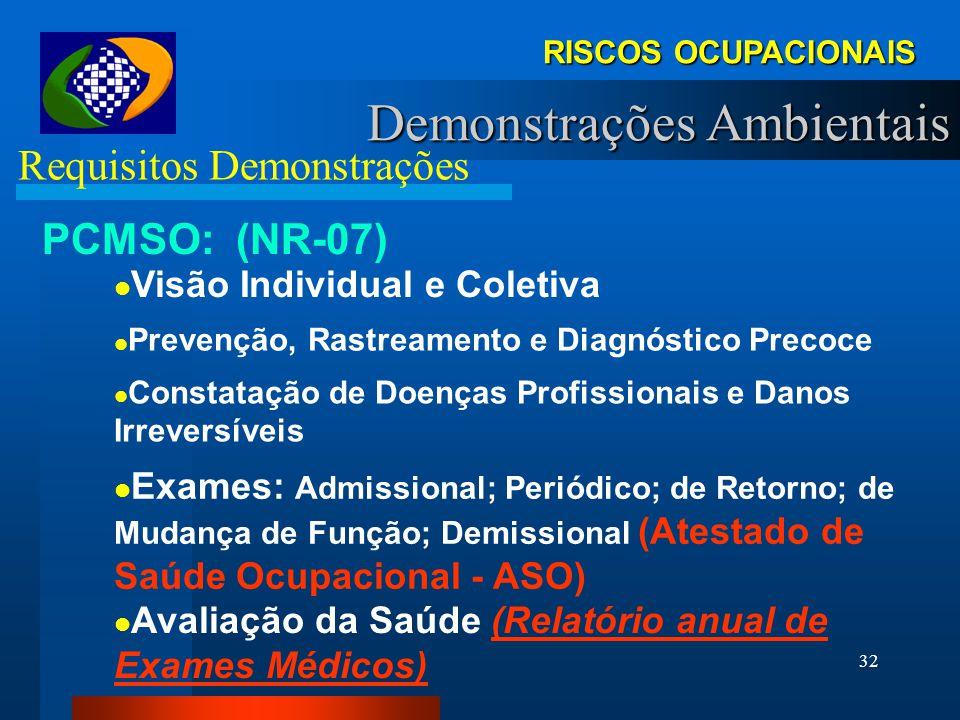 31 RISCOS OCUPACIONAIS Demonstrações Ambientais Requisitos Demonstrações PCMSO: (NR-07) Elaborado a partir do PPRA, PCMAT Por Empresa OU por Estabelec