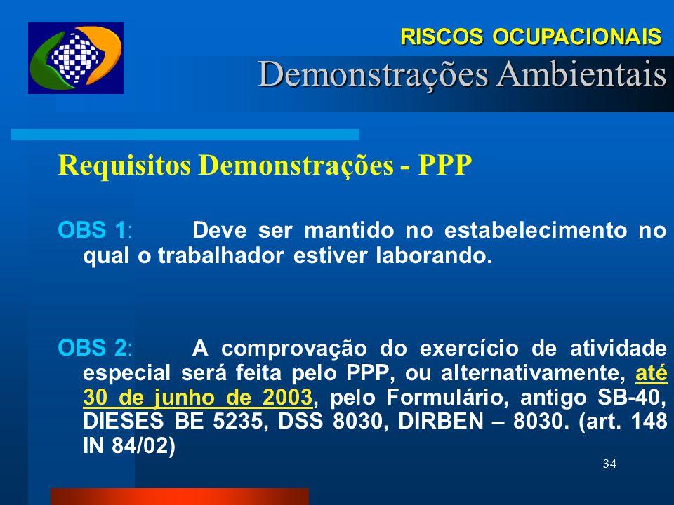 33 RISCOS OCUPACIONAIS Demonstrações Ambientais Requisitos Demonstrações PPP: (IN 84, ANEXO XV) Documento Histórico-Laboral Por Trabalhador (Individua