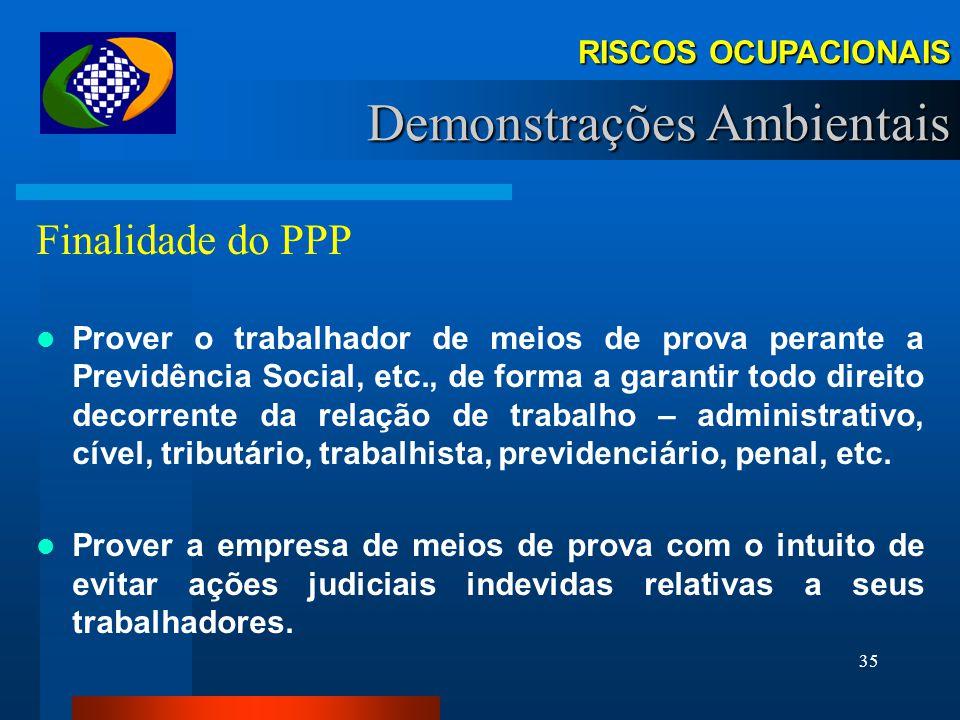 34 Requisitos Demonstrações - PPP OBS 1:Deve ser mantido no estabelecimento no qual o trabalhador estiver laborando. OBS 2: A comprovação do exercício