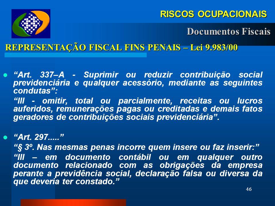 45 RISCOS OCUPACIONAIS RISCOS OCUPACIONAIS AUTOS DE INFRAÇÃO Apresentar GFIP sem todos os fatos geradores Art. 32 inc. IV § 5º da L.8.212/91– Vlr. 100