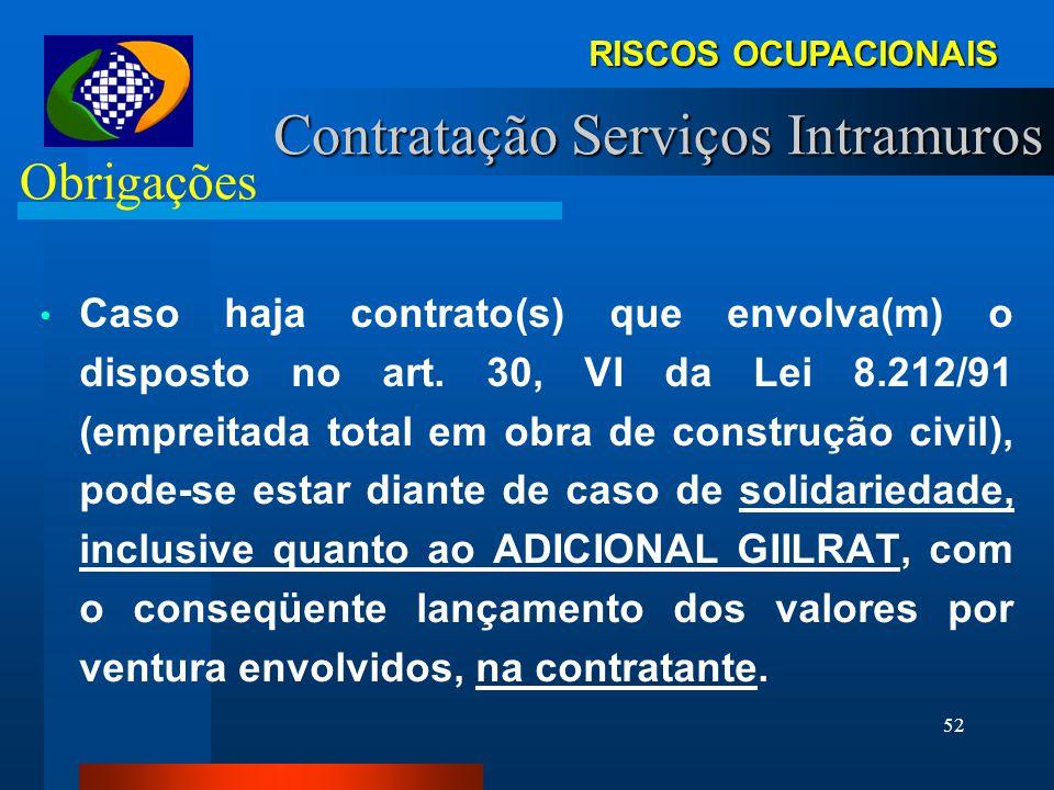 51 Obrigações TOMADORA: (a partir da Lei 10.666) - -Reter contribuição adicional (GIILRAT) no caso de exposição a Riscos Ocupacionais. (art 6o, Lei 10