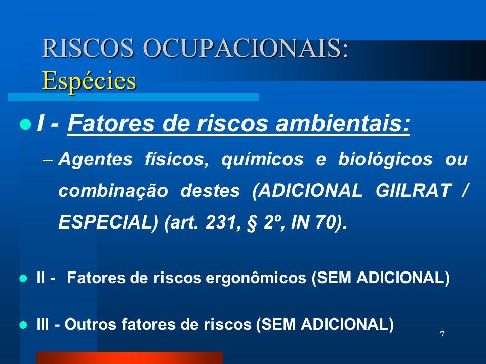 7 RISCOS OCUPACIONAIS: Espécies I -Fatores de riscos ambientais: –Agentes físicos, químicos e biológicos ou combinação destes (ADICIONAL GIILRAT / ESPECIAL) (art.