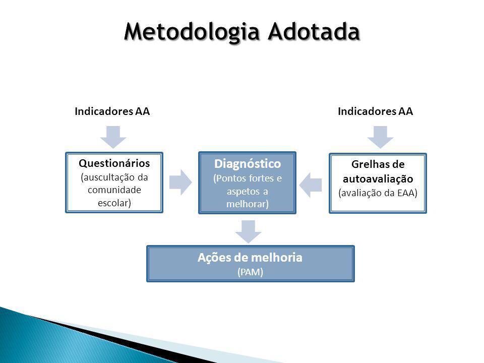 Questionários (auscultação da comunidade escolar) Grelhas de autoavaliação (avaliação da EAA) Indicadores AA Diagnóstico (Pontos fortes e aspetos a melhorar) Ações de melhoria (PAM)