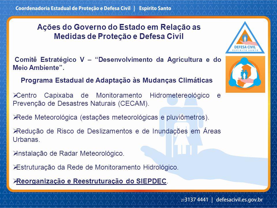Ações do Governo do Estado em Relação as Medidas de Proteção e Defesa Civil Comitê Estratégico V – Desenvolvimento da Agricultura e do Meio Ambiente .