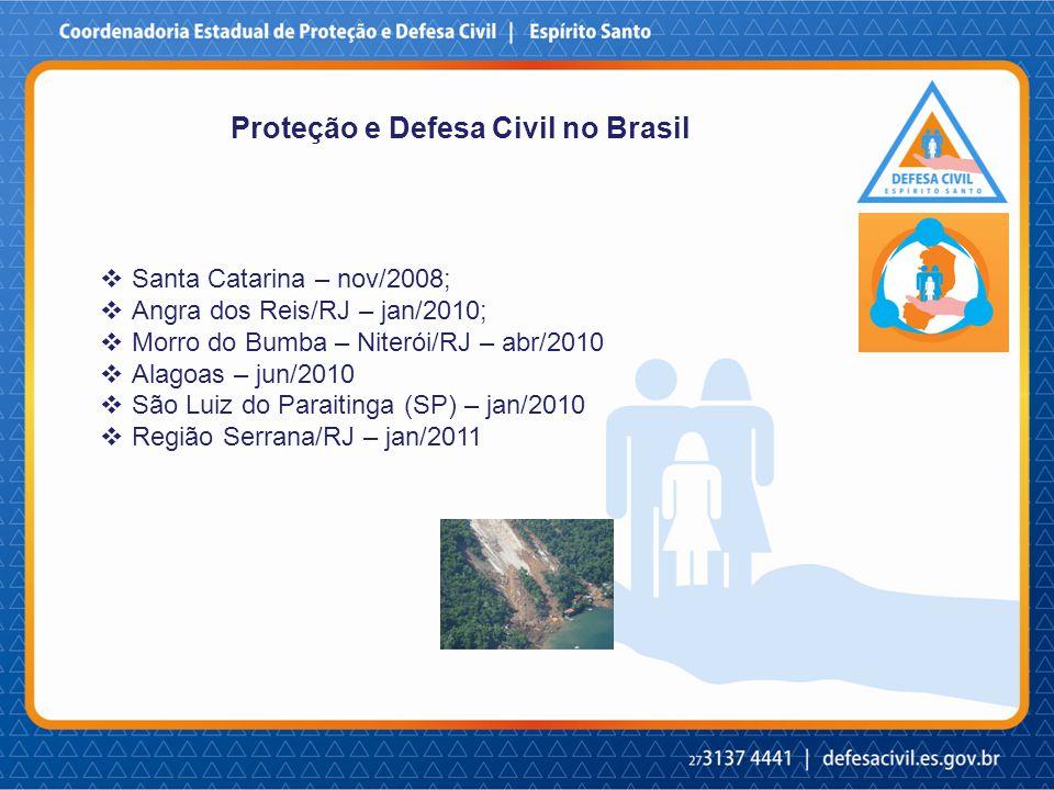 Proteção e Defesa Civil no Brasil  Santa Catarina – nov/2008;  Angra dos Reis/RJ – jan/2010;  Morro do Bumba – Niterói/RJ – abr/2010  Alagoas – jun/2010  São Luiz do Paraitinga (SP) – jan/2010  Região Serrana/RJ – jan/2011