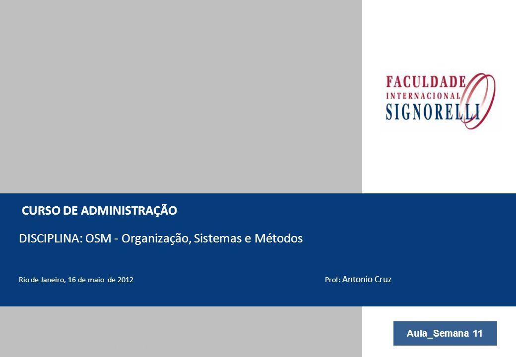 © Copyright Trópico – Todos os direitos reservados | CONFIDENCIAL CURSO DE ADMINISTRAÇÃO DISCIPLINA: OSM - Organização, Sistemas e Métodos Rio de Jane