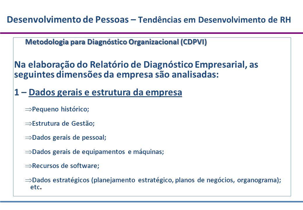 Desenvolvimento de Pessoas – Tendências em Desenvolvimento de RH Metodologia para Diagnóstico Organizacional (CDPVI) Na elaboração do Relatório de Dia