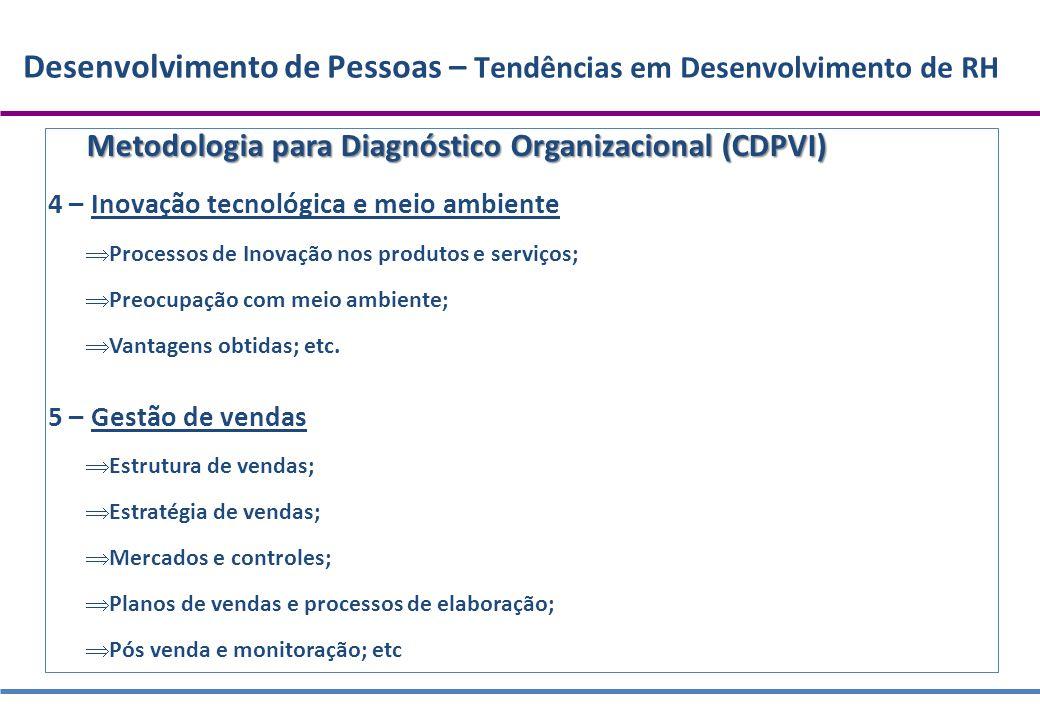 Desenvolvimento de Pessoas – Tendências em Desenvolvimento de RH Metodologia para Diagnóstico Organizacional (CDPVI) 4 – Inovação tecnológica e meio a