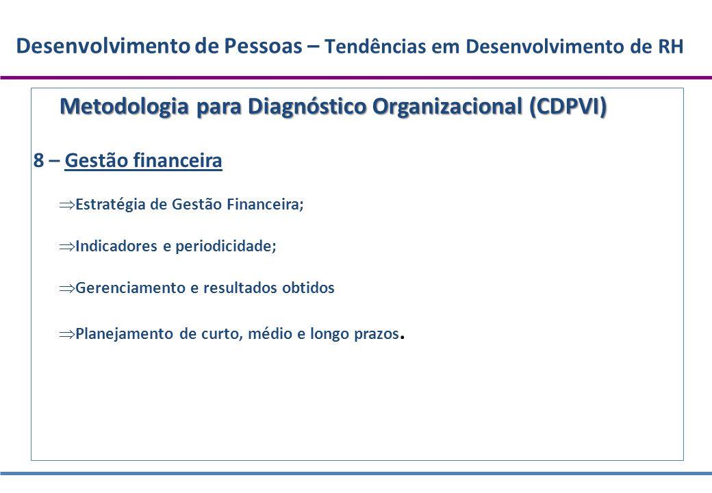 Desenvolvimento de Pessoas – Tendências em Desenvolvimento de RH Metodologia para Diagnóstico Organizacional (CDPVI) 8 – Gestão financeira  Estratégi