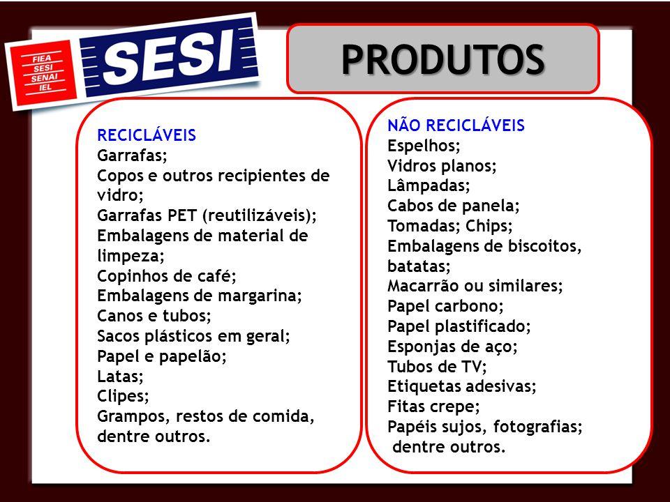 RECICLÁVEIS Garrafas; Copos e outros recipientes de vidro; Garrafas PET (reutilizáveis); Embalagens de material de limpeza; Copinhos de café; Embalage