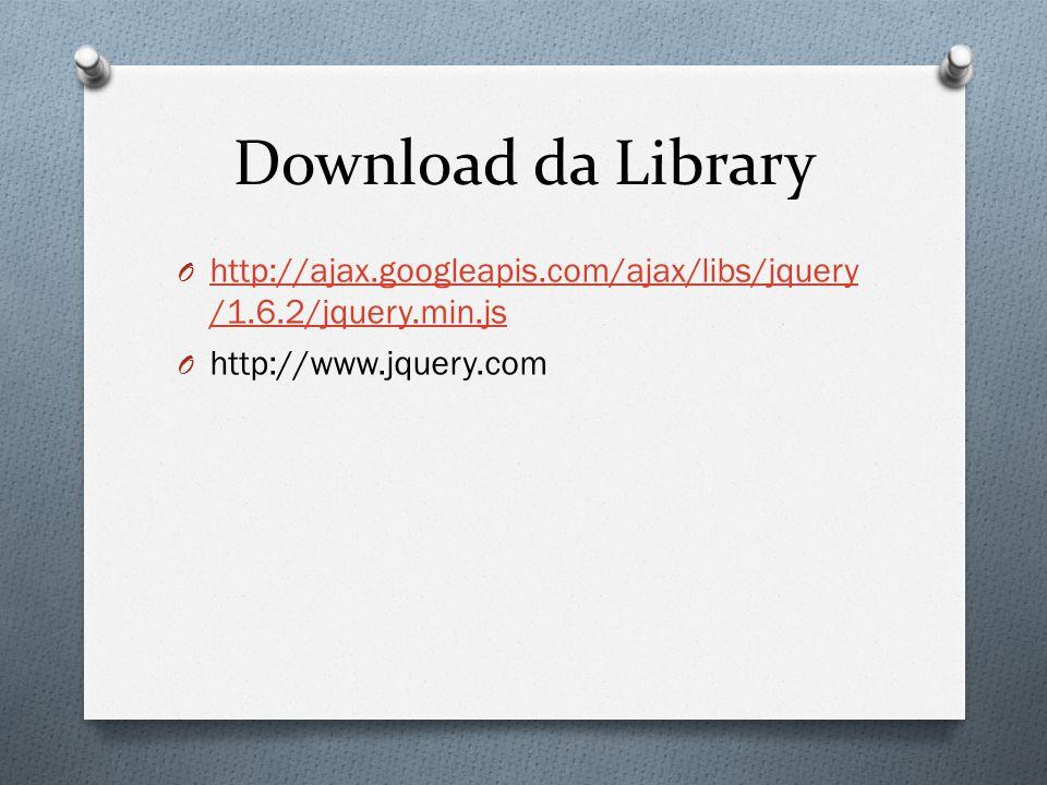 Download da Library O http://ajax.googleapis.com/ajax/libs/jquery /1.6.2/jquery.min.js http://ajax.googleapis.com/ajax/libs/jquery /1.6.2/jquery.min.js O http://www.jquery.com