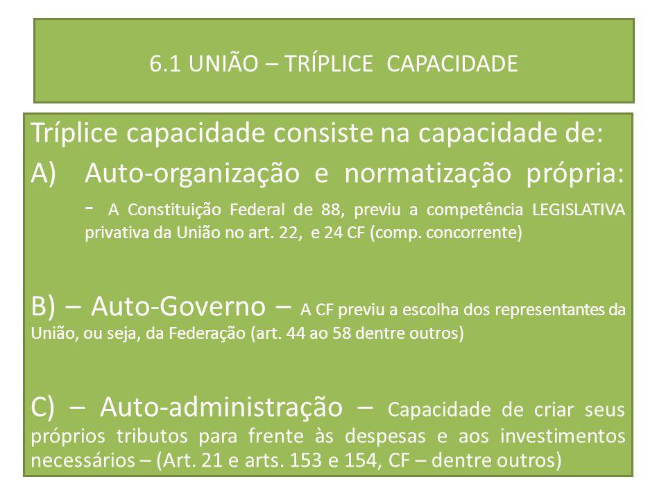 6.1 UNIÃO – TRÍPLICE CAPACIDADE Tríplice capacidade consiste na capacidade de: A)Auto-organização e normatização própria: - A Constituição Federal de