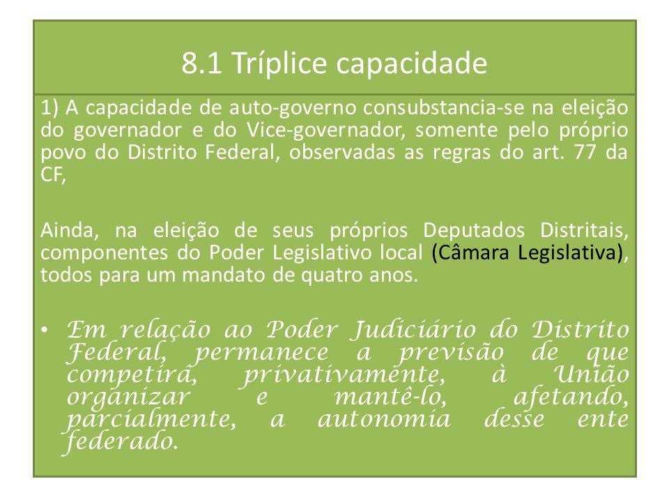 8.1 Tríplice capacidade 1) A capacidade de auto-governo consubstancia-se na eleição do governador e do Vice-governador, somente pelo próprio povo do D