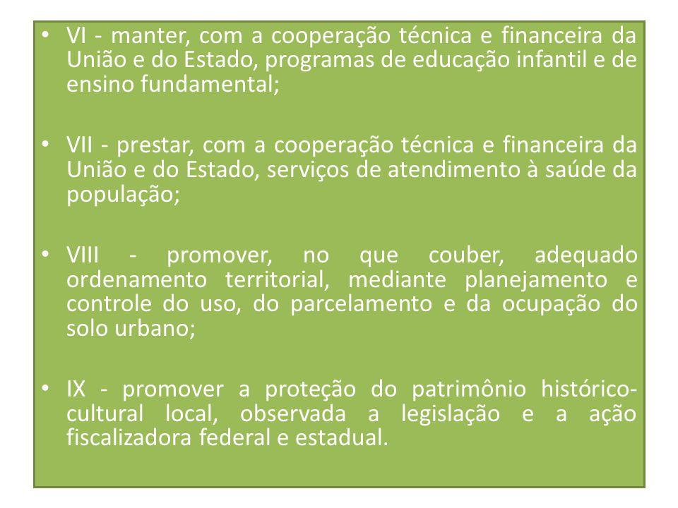 VI - manter, com a cooperação técnica e financeira da União e do Estado, programas de educação infantil e de ensino fundamental; VII - prestar, com a