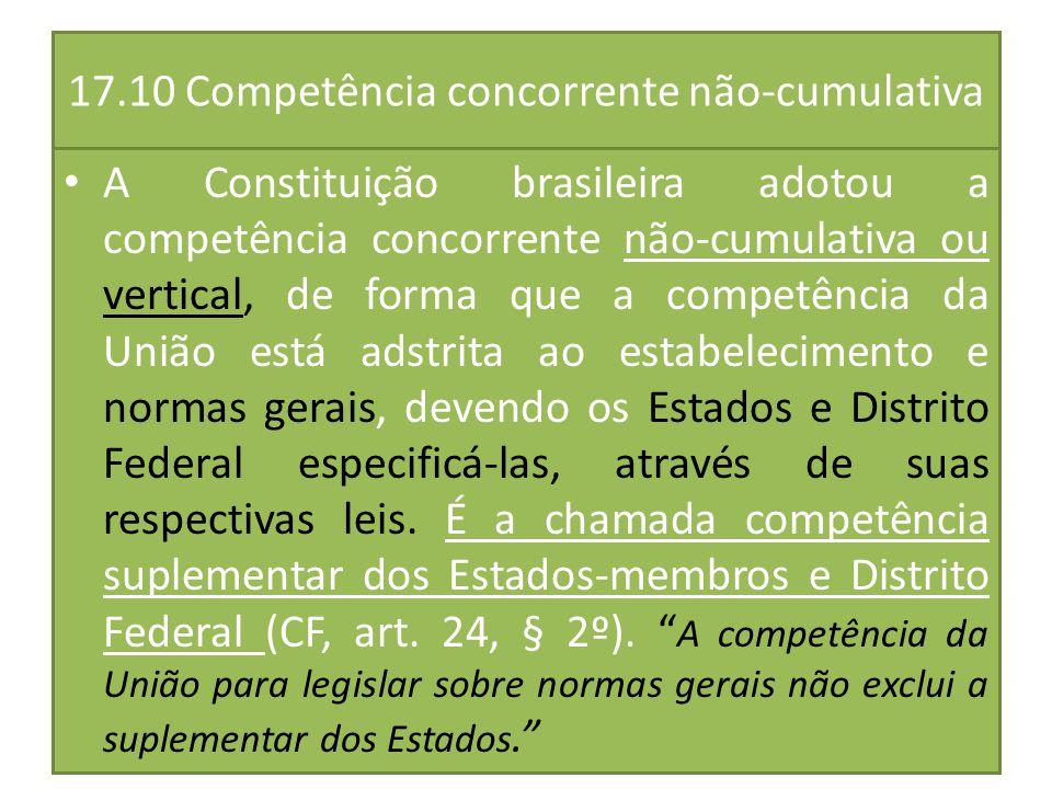 17.10 Competência concorrente não-cumulativa A Constituição brasileira adotou a competência concorrente não-cumulativa ou vertical, de forma que a com