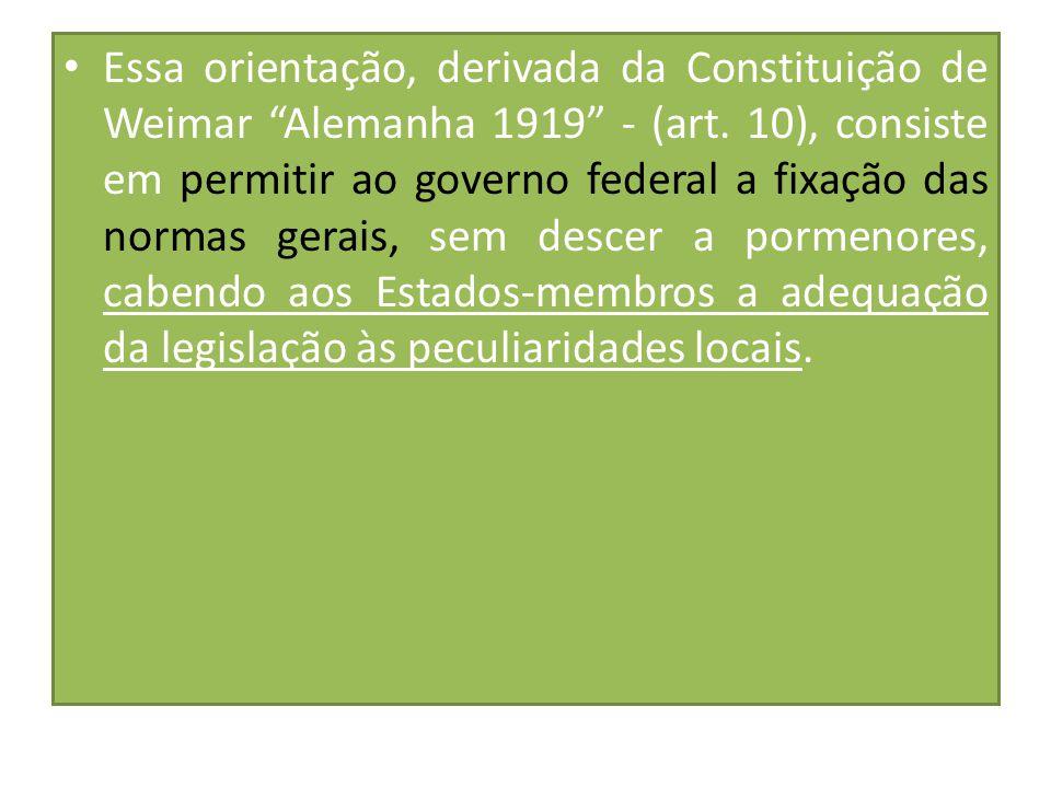 """Essa orientação, derivada da Constituição de Weimar """"Alemanha 1919"""" - (art. 10), consiste em permitir ao governo federal a fixação das normas gerais,"""