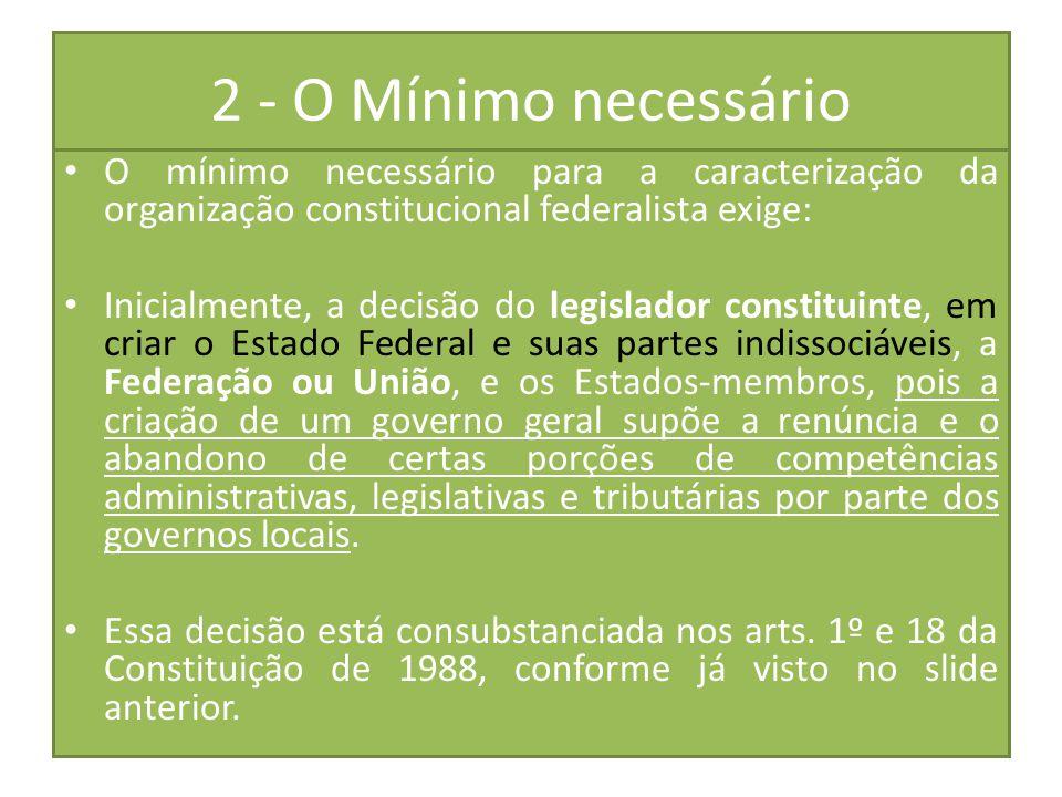 2 - O Mínimo necessário O mínimo necessário para a caracterização da organização constitucional federalista exige: Inicialmente, a decisão do legislad