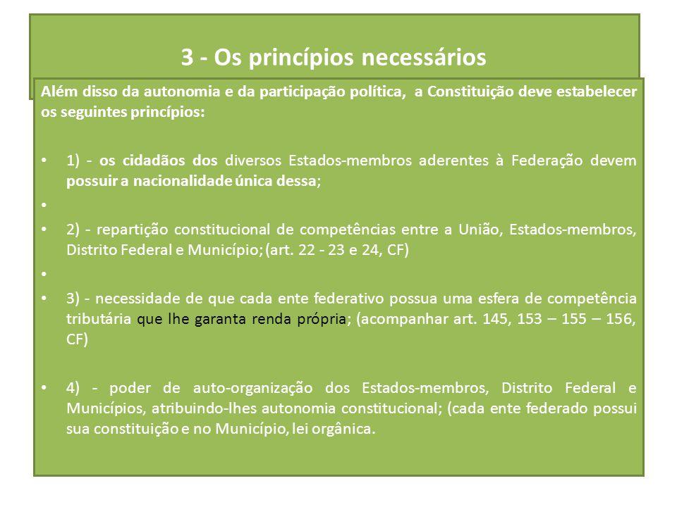 3 - Os princípios necessários Além disso da autonomia e da participação política, a Constituição deve estabelecer os seguintes princípios: 1) - os cid
