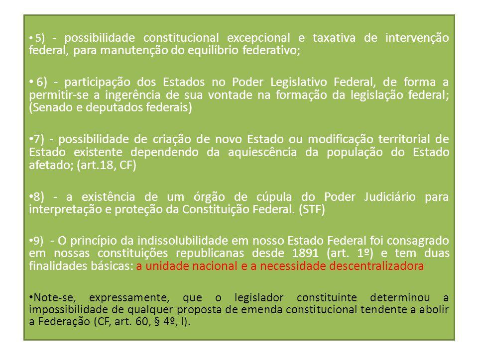 continuação 5) - possibilidade constitucional excepcional e taxativa de intervenção federal, para manutenção do equilíbrio federativo; 6) - participaç