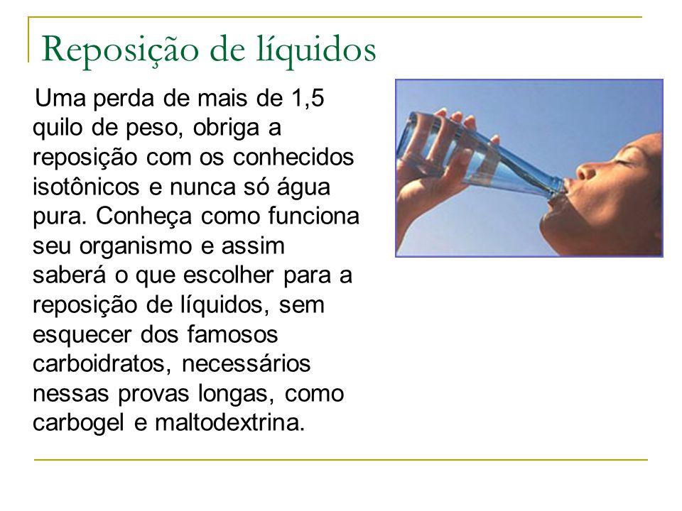 Reposição de líquidos Uma perda de mais de 1,5 quilo de peso, obriga a reposição com os conhecidos isotônicos e nunca só água pura. Conheça como funci