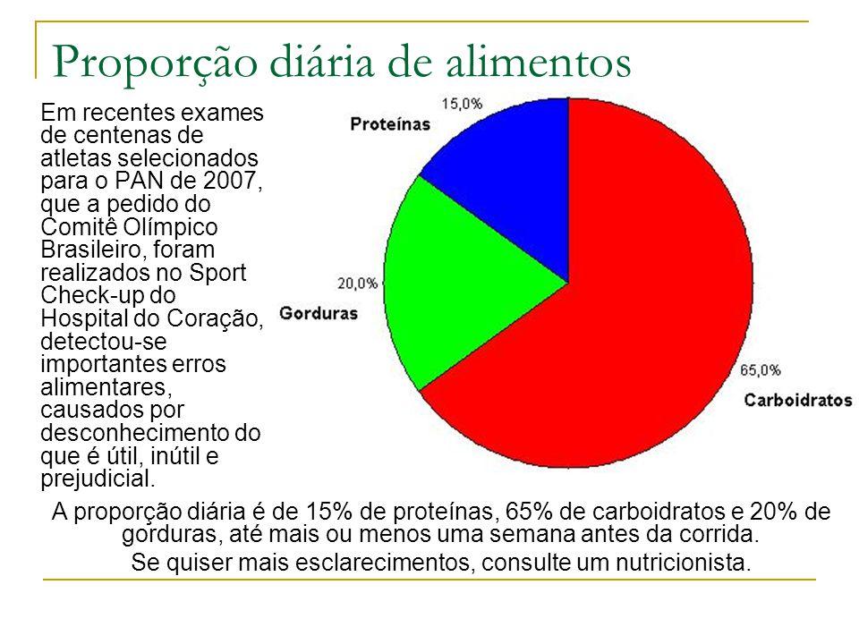 Proporção diária de alimentos Em recentes exames de centenas de atletas selecionados para o PAN de 2007, que a pedido do Comitê Olímpico Brasileiro, f