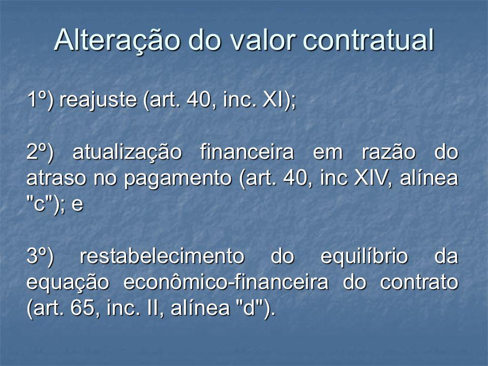 Alteração do valor contratual 1º) reajuste (art. 40, inc. XI); 2º) atualização financeira em razão do atraso no pagamento (art. 40, inc XIV, alínea