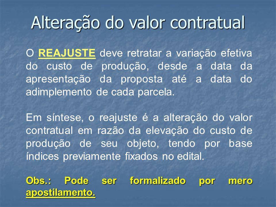 Alteração do valor contratual O REAJUSTE deve retratar a variação efetiva do custo de produção, desde a data da apresentação da proposta até a data do