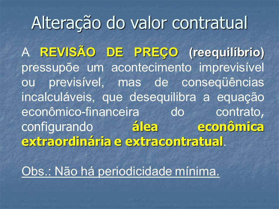 Alteração do valor contratual REVISÃO DE PREÇO (reequilíbrio) álea econômica extraordinária e extracontratual A REVISÃO DE PREÇO (reequilíbrio) pressu