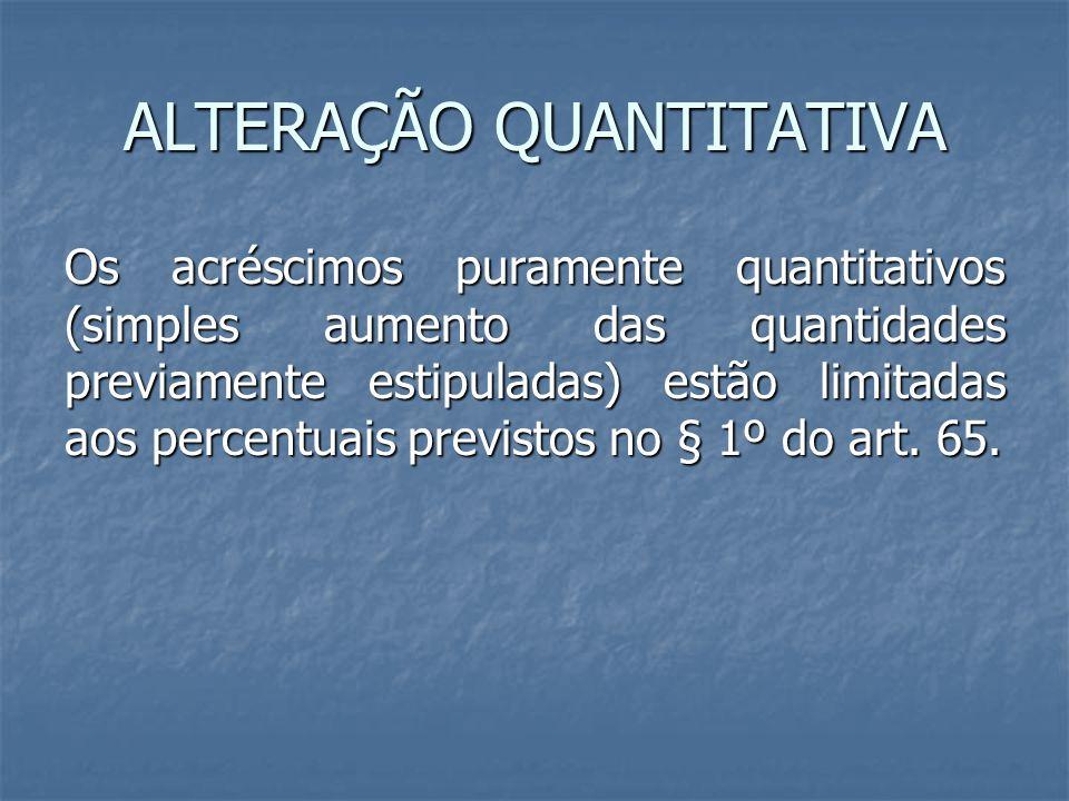 ALTERAÇÃO QUANTITATIVA Os acréscimos puramente quantitativos (simples aumento das quantidades previamente estipuladas) estão limitadas aos percentuais