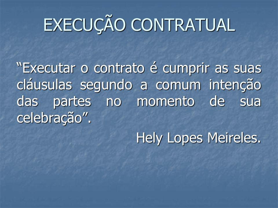 """EXECUÇÃO CONTRATUAL """"Executar o contrato é cumprir as suas cláusulas segundo a comum intenção das partes no momento de sua celebração"""". Hely Lopes Mei"""