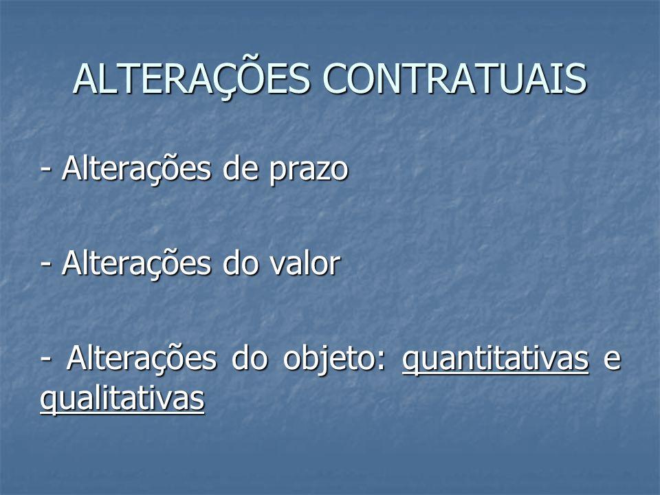 ALTERAÇÕES CONTRATUAIS - Alterações de prazo - Alterações do valor - Alterações do objeto: quantitativas e qualitativas