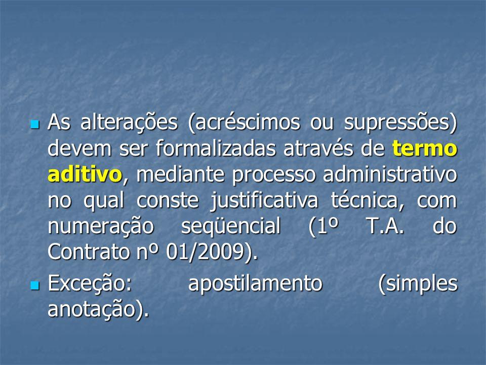 As alterações (acréscimos ou supressões) devem ser formalizadas através de termo aditivo, mediante processo administrativo no qual conste justificativa técnica, com numeração seqüencial (1º T.A.