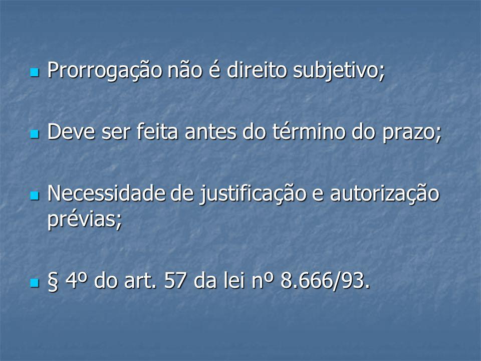 Prorrogação não é direito subjetivo; Prorrogação não é direito subjetivo; Deve ser feita antes do término do prazo; Deve ser feita antes do término do prazo; Necessidade de justificação e autorização prévias; Necessidade de justificação e autorização prévias; § 4º do art.