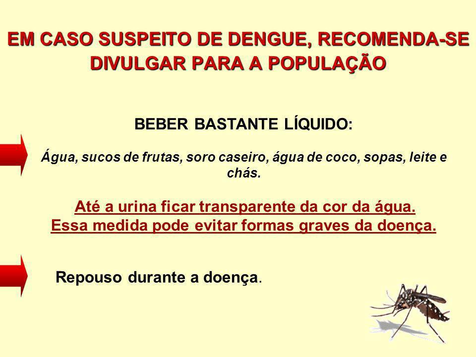 EM CASO SUSPEITO DE DENGUE, RECOMENDA-SE DIVULGAR PARA A POPULAÇÃO BEBER BASTANTE LÍQUIDO: Água, sucos de frutas, soro caseiro, água de coco, sopas, l