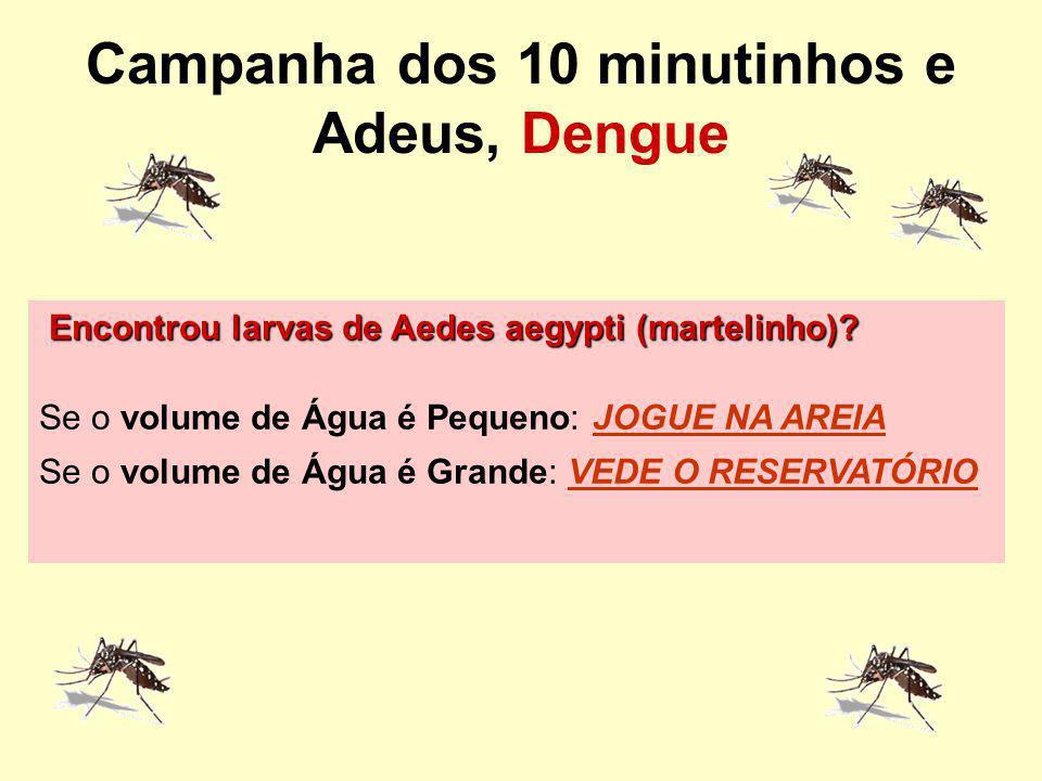 Campanha dos 10 minutinhos e Adeus, Dengue Encontrou larvas de Aedes aegypti (martelinho)? Se o volume de Água é Pequeno: JOGUE NA AREIA Se o volume d