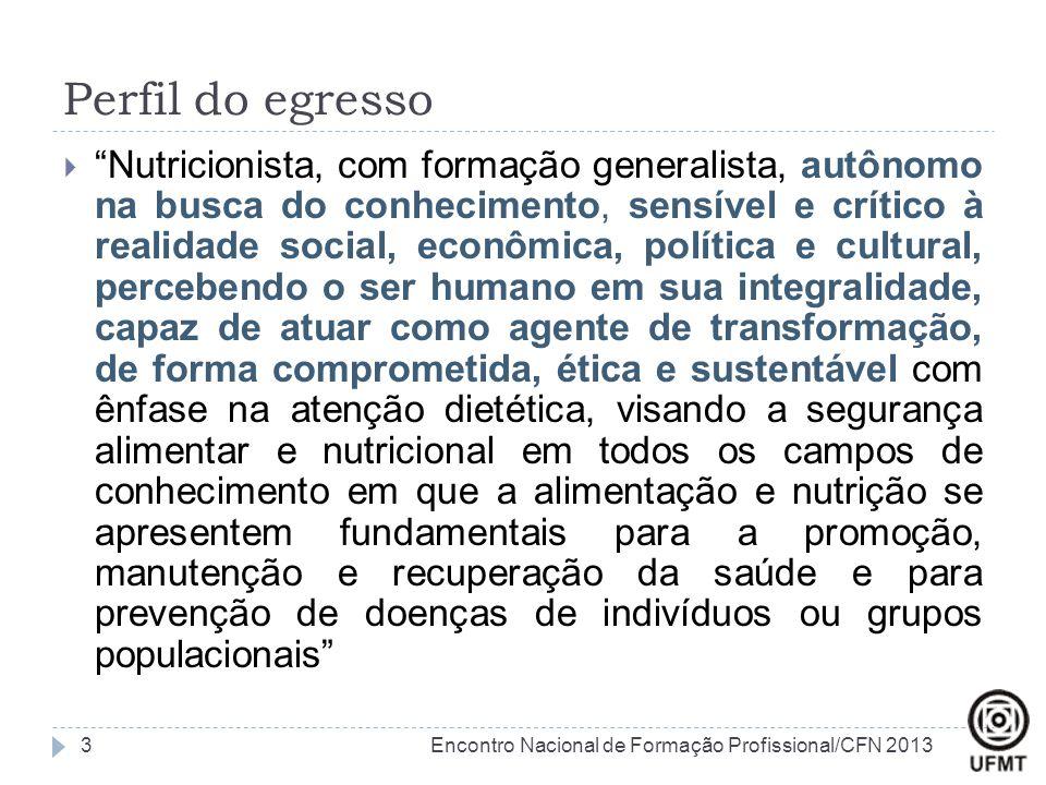 """Perfil do egresso  """"Nutricionista, com formação generalista, autônomo na busca do conhecimento, sensível e crítico à realidade social, econômica, pol"""