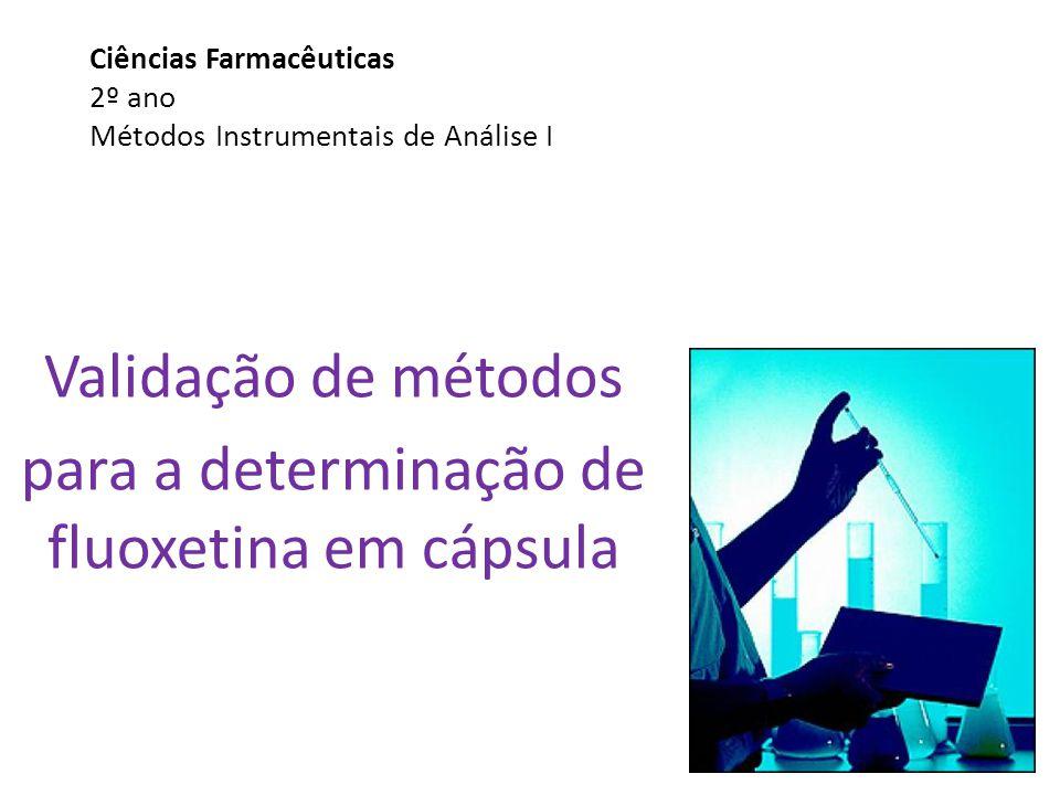 Ciências Farmacêuticas 2º ano Métodos Instrumentais de Análise I Validação de métodos para a determinação de fluoxetina em cápsula