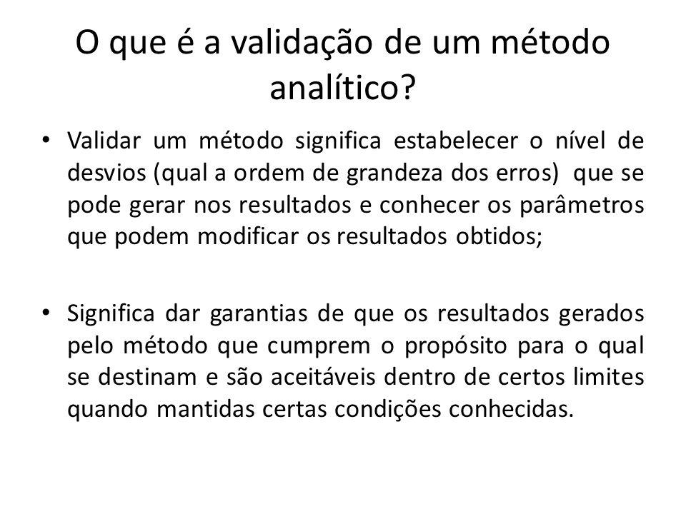 O que é a validação de um método analítico? Validar um método significa estabelecer o nível de desvios (qual a ordem de grandeza dos erros) que se pod
