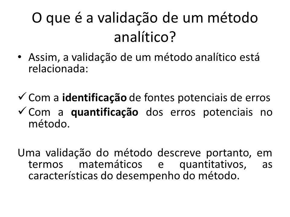 O que é a validação de um método analítico? Assim, a validação de um método analítico está relacionada: Com a identificação de fontes potenciais de er