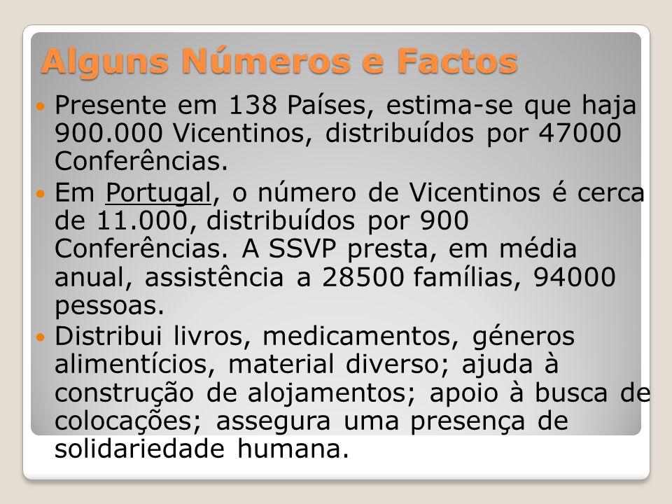 Alguns Números e Factos Presente em 138 Países, estima-se que haja 900.000 Vicentinos, distribuídos por 47000 Conferências. Em Portugal, o número de V
