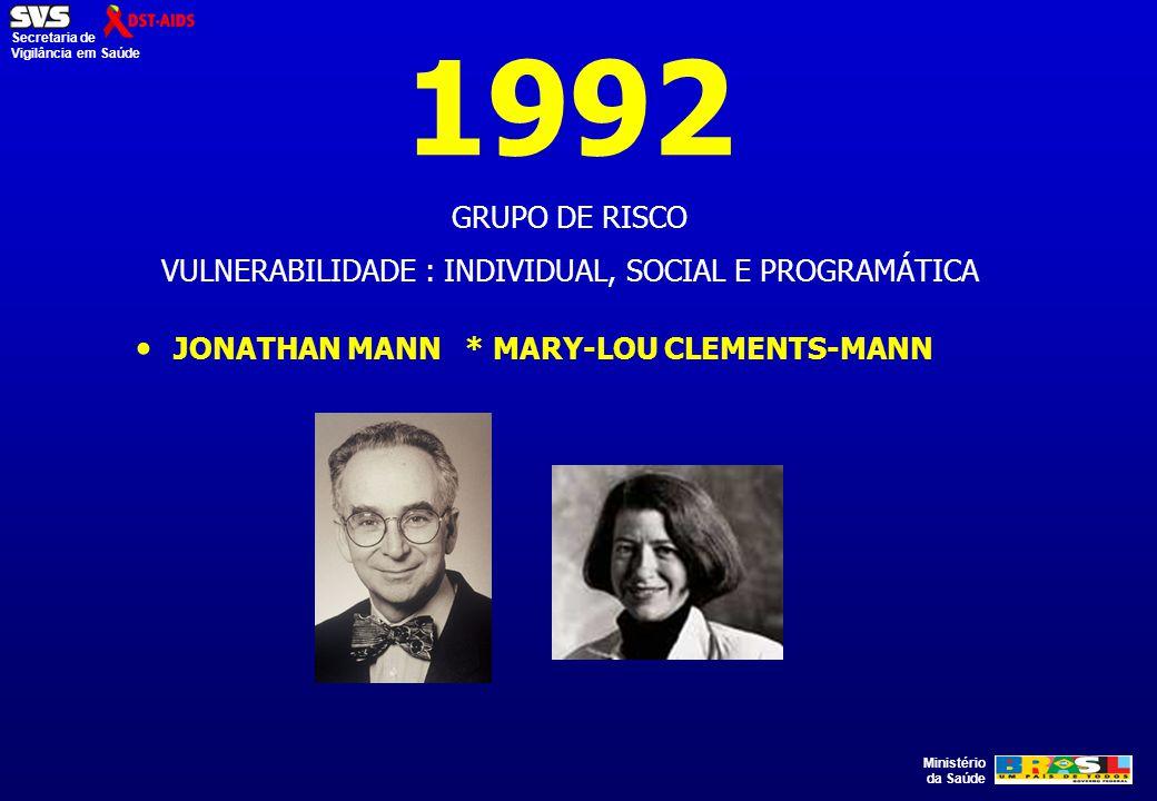 Ministério da Saúde Secretaria de Vigilância em Saúde 1992 GRUPO DE RISCO VULNERABILIDADE : INDIVIDUAL, SOCIAL E PROGRAMÁTICA JONATHAN MANN * MARY-LOU
