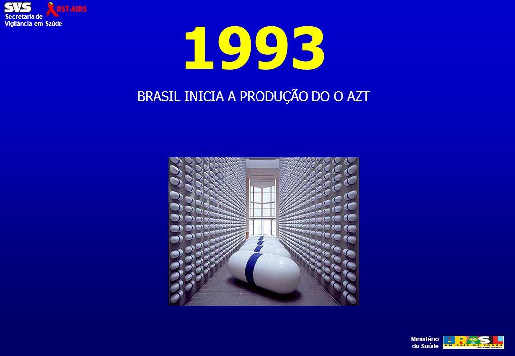 Ministério da Saúde Secretaria de Vigilância em Saúde 1993 BRASIL INICIA A PRODUÇÃO DO O AZT