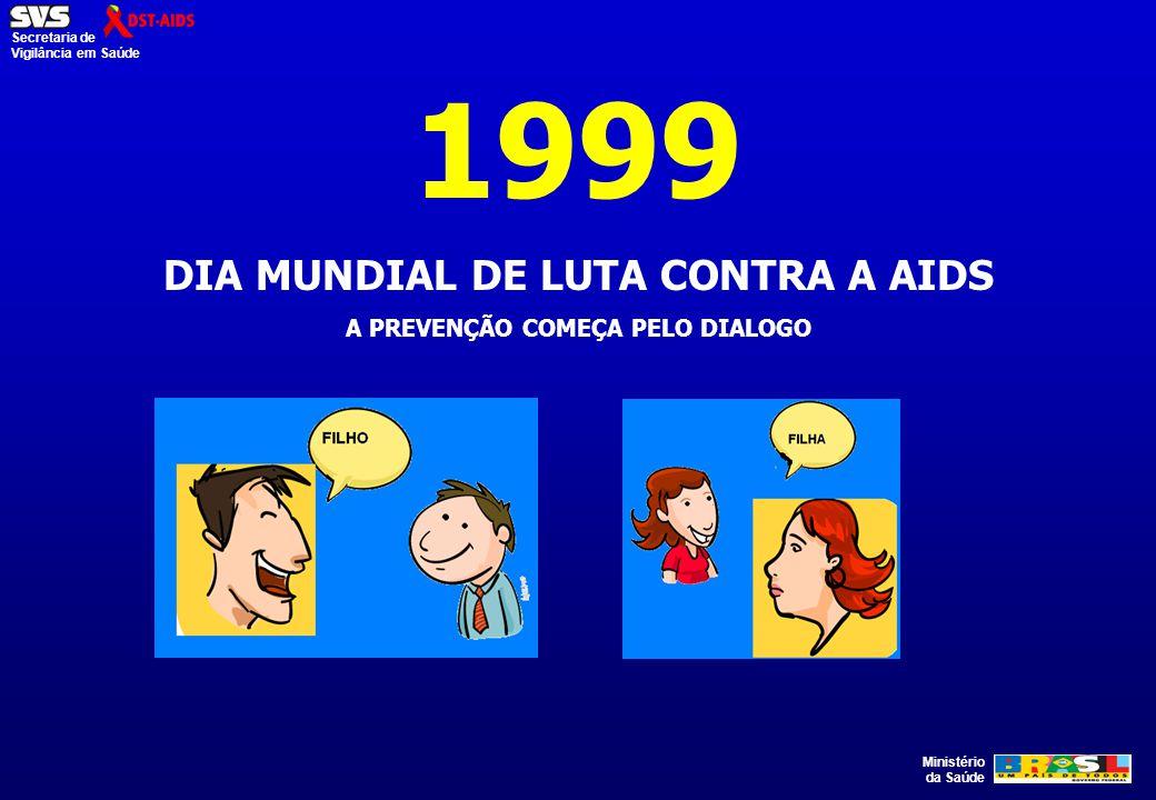 Ministério da Saúde Secretaria de Vigilância em Saúde 1999 DIA MUNDIAL DE LUTA CONTRA A AIDS A PREVENÇÃO COMEÇA PELO DIALOGO